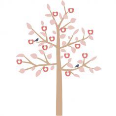 Sticker géant arbre généalogique Family Tree rose (180 cm)