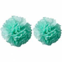 Pompons papier de soie vert menthe (2 pièces)