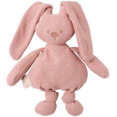 Peluche en tricot lapin rose Lapidou (36 cm)
