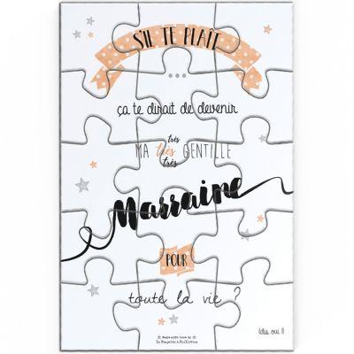 Puzzle de demande de marraine (10 x 15 cm)  par La Poupette à paillettes
