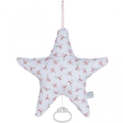 Coussin musical étoile Peach poppy (26 x 24 cm) Little Dutch