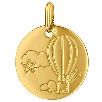 Médaille ronde Montgolfière 16 mm (or jaune 750°)  par Premiers Bijoux