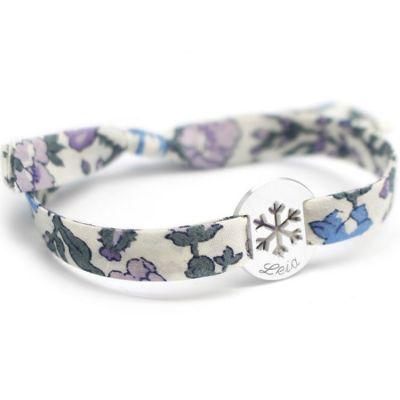 Bracelet Liberty ruban flocon personnalisable (argent 925°)  par Petits trésors