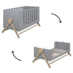 Lit bébé évolutif Swing gris (70 x 140 cm)