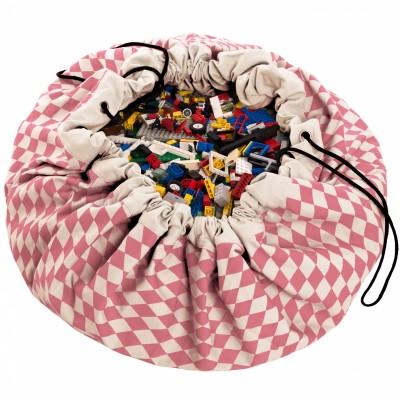 Sac à jouets 2 en 1 rose et blanc Diamond rose Play&Go