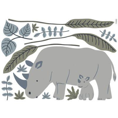 Planche de stickers Les rhinocéros (90 x 64 cm) Lilipinso
