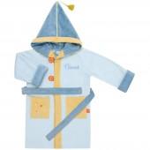 Peignoir de bain Dragon bleu personnalisable (4-6 ans) - L'oiseau bateau