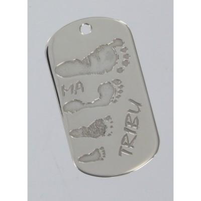 Pendentif empreinte plaque militaire avec mousqueton (argent 925°)   par Les Empreintes