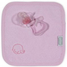 Doudou attache sucette rose