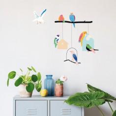 Stickers oiseaux et maisons