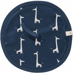 Doudou attache sucette Girafe bleue indigo