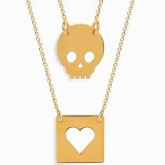 Double collier chaîne 60 cm pendentif Twin coeur et tête de mort (vermeil doré)