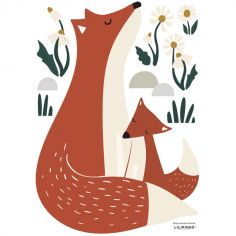 Stickers Forest happiness famille renard (29,7 x 42 cm)