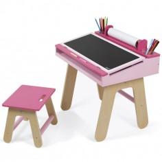Table à dessin rose et son tabouret