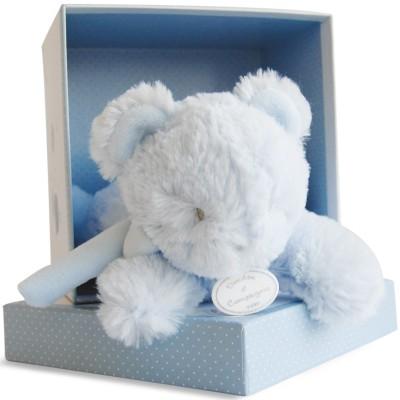 Coffret peluche musicale ours bleu (20 cm) Doudou et Compagnie