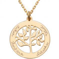Collier petit arbre de vie personnalisable (plaqué or)