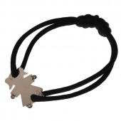 Bracelet cordon petite fille ou petit garçon mains et pieds diamant 17 mm (or blanc 750°) - Loupidou