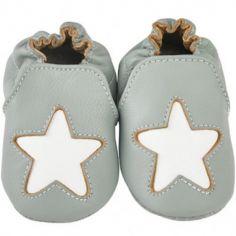 Chaussons cuir Cocon étoile gris (0-6 mois)