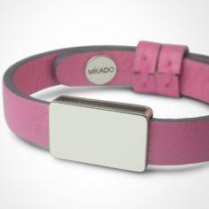 Bracelet cuir Hip-Hop Malabar (or blanc 750° et cuir)