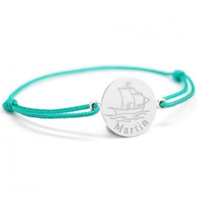 Bracelet cordon Bateau personnalisable (argent 925°)  par Petits trésors