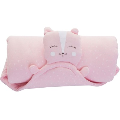Couverture Ma couverture doudou chat rose (80 x 80 cm) Minene