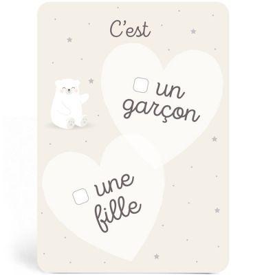Carte annonce fille ou garçon ours blanc Zü