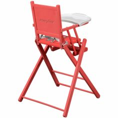 Chaise haute pliante en bois massif laqué bouton de rose (personnalisable)