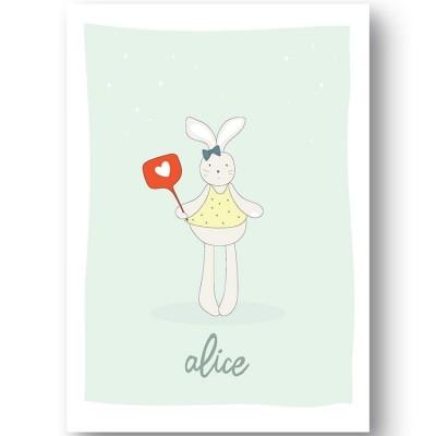 Affiche lapin Cacahuète personnalisable (21 x 29,7 cm)  par Ourson d'Avril