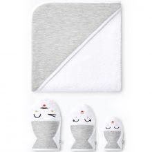 Cape de bain + 3 gants de toilette gris (90 x 90 cm)  par Les petites billes
