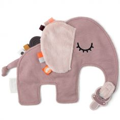 Doudou attache sucette éléphant rose Elphee