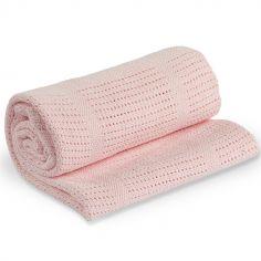 Couverture bébé tricot rose (80 x 100 cm)