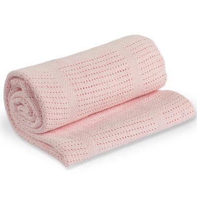 Couverture bébé tricot rose (80 x 100 cm)  par Lulujo