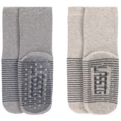 Lot de 2 paires de chaussettes antidérapantes en coton bio gris (pointure 23-26)