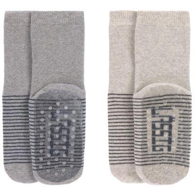 Lot de 2 paires de chaussettes antidérapantes en coton bio gris (pointure 23-26)  par Lässig
