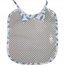 Bavoir à nouer plastifié col chemise Plumes étoilé gris  par Les Petits Vintage