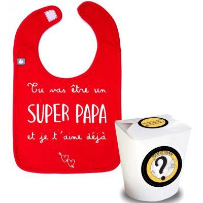 Pochette surprise annonce de grossesse bavoir Tu vas être un super papa  par BB & Co