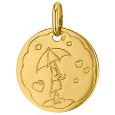 Médaille ronde Pluie de coeur 16 mm (or jaune 750°)