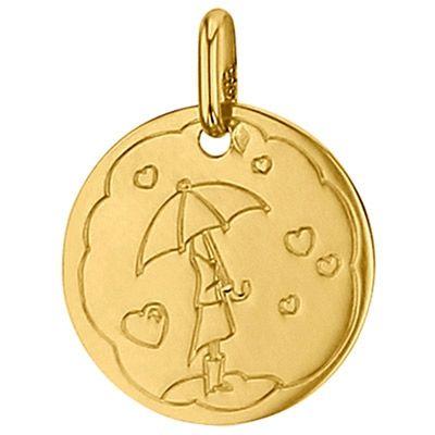 Médaille ronde Pluie de coeur 16 mm (or jaune 750°)  par Premiers Bijoux