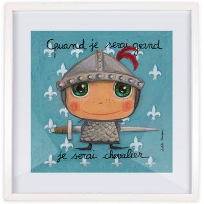 Affiche encadrée Quand je serai grand je serai chevalier (30 x 30 cm)  par Isabelle Kessedjian