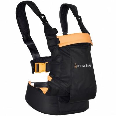 Porte bébé ventral et dorsal Dynamic noir et orange
