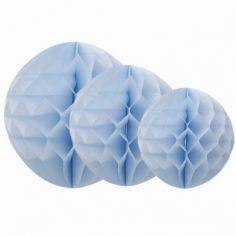 Boules en papier alvéolé bleu ciel (3 pièces)