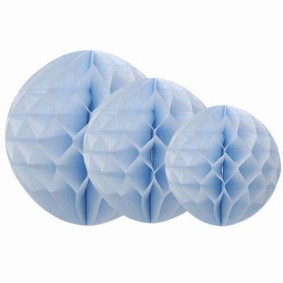 Boules en papier alvéolé bleu ciel (3 pièces)  par Arty Fêtes Factory