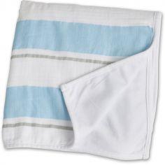 Couverture bébé rayures bleues (96 x 96 cm)