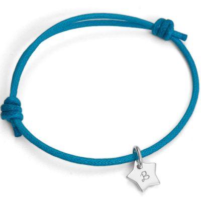 Bracelet Initiales avec étoile personnalisable (argent 925°)  par Merci Maman