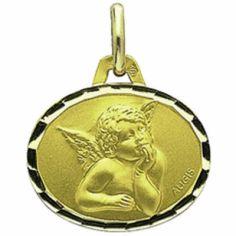 Médaille ovale Ange de Raphaël 16 mm facettée (or jaune 750°)