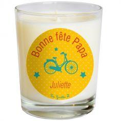 Bougie Fête des Pères vélo jaune (personnalisable)
