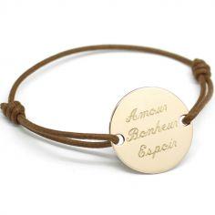 Bracelet cordon femme Family (plaqué or jaune)