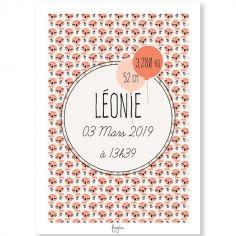 Affiche de naissance A3 Les Animignons Flamant rose (personnalisable)
