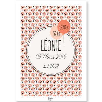 Affiche de naissance A3 Les Animignons Flamant rose (personnalisable)  par Kanzilue