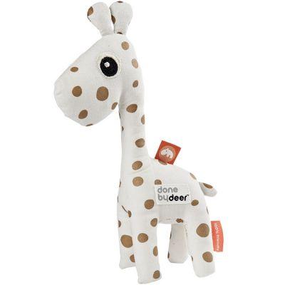 Hochet peluche Raffi la girafe blanc et doré (20 cm)  par Done by Deer